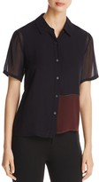 DKNY Short Sleeve Button Down Blouse