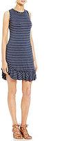 M.S.S.P. Ruffled Hem Stripe Knit Jersey Dress