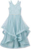 Speechless Ice Blue Lace-Accent Maxi Dress - Girls