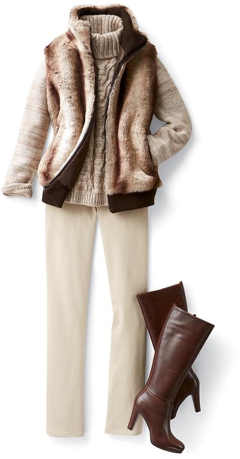Coldwater Creek Faux fur plush vest