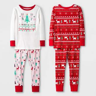 Cat & Jack Toddler Girls' 4pc 100% Cotton Unicorn Pajama Set - Cat & JackTM Red/White