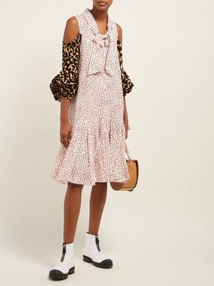 J.W.Anderson Leopard-print Sleeve Polka-dot Dress - Pink Multi