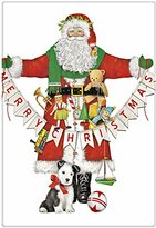 "Christmas Santa Garland 100% Cotton Flour Sack Dish Tea Towel - Mary Lake Thompson 30"" x 30"""