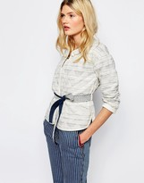 Sessun Quilted Jacket With Tie Waist in Stripe