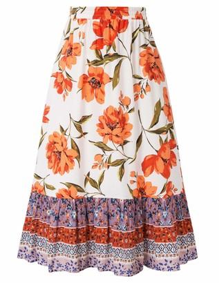Liumilac Women's Boho Floral Print Loose A Line Shirring Midi Wrap Skirt Boho Midi Dress