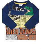 """Little Marc """"Alien Invasion"""" Cotton T-Shirt-BLUE"""
