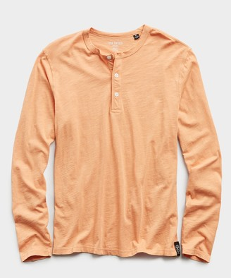 Todd Snyder Made In L.A. Slub Jersey Long Sleeve Henley in Fresh Melon