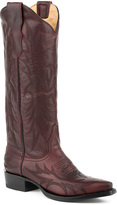 Stetson Burgundy & Brown Embroidered Leather Vamp Cowboy Boot