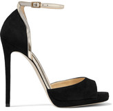 Jimmy Choo Pearl Metallic Leather-trimmed Suede Sandals - Black