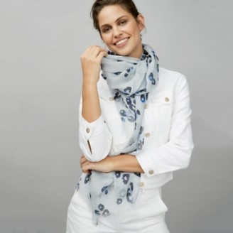 The White Company Leopard Scarf, Blue, One Size
