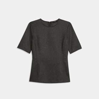 Theory Melange Ponte Fitted Short-Sleeve Shell