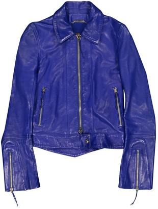 Roberto Cavalli Blue Leather Leather jackets