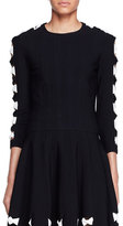 Alexander McQueen Knit Bow Sweater with Cutouts, Black/White
