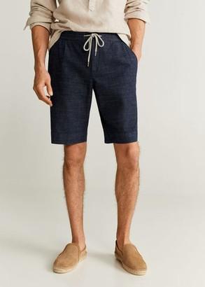 MANGO MAN - Elastic waist cotton Bermuda shorts dark blue - 28 - Men