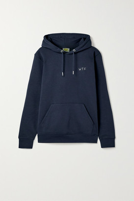 YEAH RIGHT NYC Wtf Embroidered Organic Cotton-blend Jersey Hoodie - Midnight blue