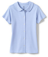 Classic Little Girls Short Sleeve Button Front Peter Pan-White