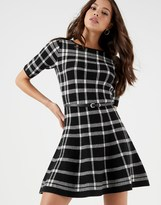 Lipsy Mono Check Skater Dress