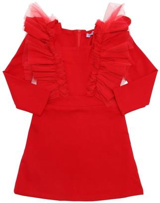 Moque Viscose Blend Dress W/ Ruffles