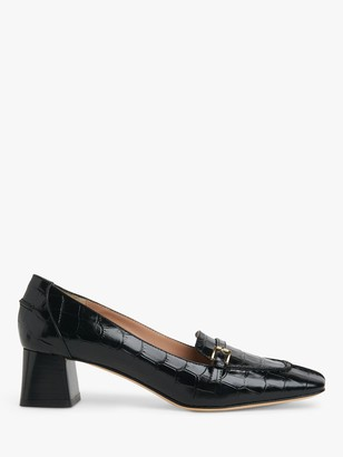 LK Bennett Felicity Low Block Heel Leather Court Shoes