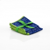 Pin It NotNeutral Letters Cocktail Napkin Set - In Blue With Green Trim - Set Of 4