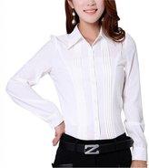 Double Plus Open DPO Women's Chiffon Slim Pleated Office Puff Sleeve Shirt Long Sleeve Blouse