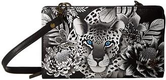 Anuschka Cell Phone Crossbody Wallet 1149 (Cleopatra's Leopard) Handbags