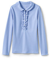 Classic Little Girls Long Sleeve Ruffle Placket Polo-White
