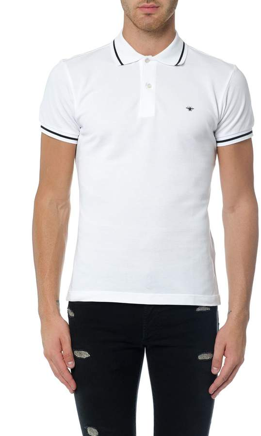 Christian Dior T-shirt Polo With Black Bee Embroidery In White Piqué
