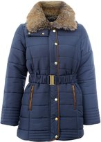 Chocolate Pickle Womens Padded Quilted Fur Neck Hooded Jacket Coats