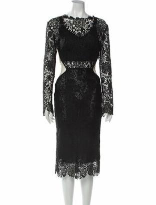 Maria Lucia Hohan Lace Pattern Midi Length Dress Black