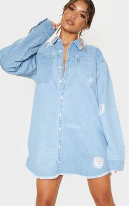 PrettyLittleThing Black Super Distressed Denim Shirt Dress