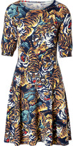 Kenzo Stretch Wool Intarsia Knit Tiger Print Dress