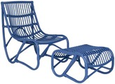 The Well Appointed House Mid Century Inspired Rattan Chair & Ottoman - Blue