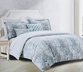 enVogue Bedding Tiles Medallion Denim Blue Grey Duvet Cover 3pc Set Antique Linen Textured Damask Print Reversible (Queen)