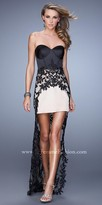 La Femme Sheer Lace and Satin Hi-Low Prom Gown