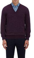 Barneys New York Men's Cashmere V-Neck Sweater-PURPLE