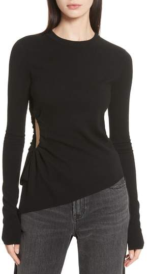 Alexander Wang T by Alexander Side Cutout Ruched Merino Wool Sweater