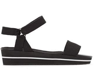 Castaluna Plus Size Wide Fit Canvas Wedge Sandals