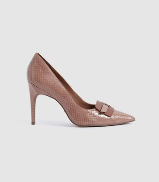 Reiss Harriet Snake - Snakeskin Leather Court Shoes in Toffee