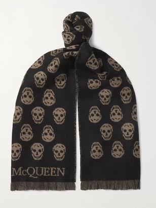 Alexander McQueen Reversible Fringed Logo-Jacquard Wool Scarf