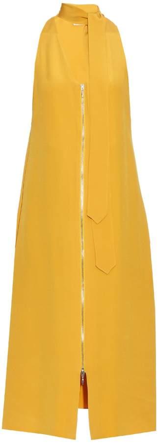 Edun Tie-neck silk-cady dress