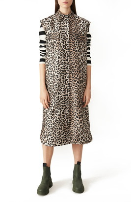 Ganni Leopard Print Sleeveless Shift Dress
