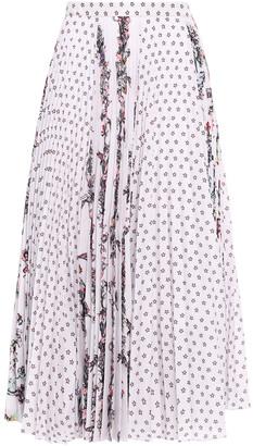 Markus Lupfer Poppy Pleated Printed Crepe De Chine Midi Skirt