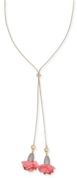 """INC International Concepts Inc Gold-Tone Pave & Fabric Flower 38"""" Adjustable Lariat Necklace, Created For Macy's"""