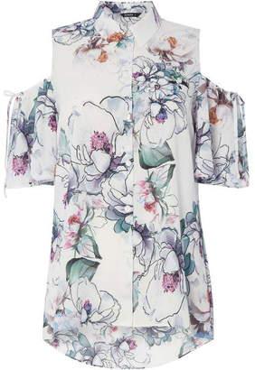 Roman Originals Floral Print Cold Shoulder Shirt Top