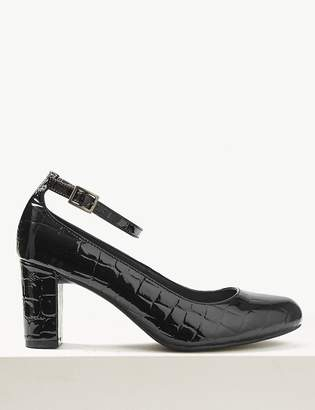 M&S CollectionMarks and Spencer Wide Fit Leather Ankle Strap Court Shoes