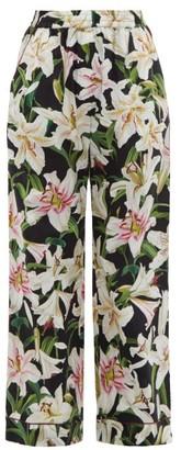 Dolce & Gabbana Lily-print High-rise Cotton-blend Pyjama Trousers - Womens - Black Print