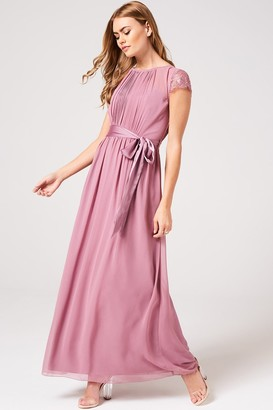 Little Mistress Phoebe Canyon Rose Lace Sleeve Maxi Dress