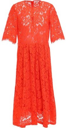 Ganni Jerome Pleated Corded Lace Midi Dress
