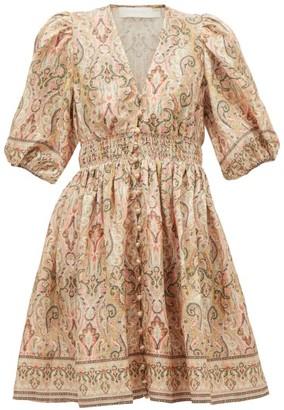 Zimmermann Freja Paisley-print Linen Mini Dress - Womens - Pink Print